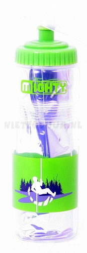 Bidon 400 ml Mighty thermo zilver/groen