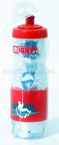 Bidon 400 ml Mighty thermo zilver/rood